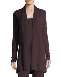 Neiman Marcus Cashmere Collection Cashmere Ribbed Trim Open Front Cardigan