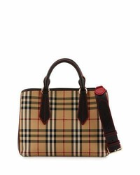 Burberry Ballingdon Medium Horseferry Check Tote Bag Honeyblack