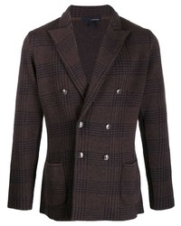 Lardini Check Print Double Breasted Jacket