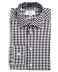 Dark Brown Check Dress Shirt
