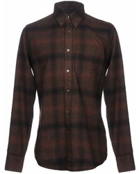 Dark Brown Check Flannel Long Sleeve Shirt