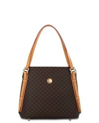 Dark Brown Check Leather Tote Bag