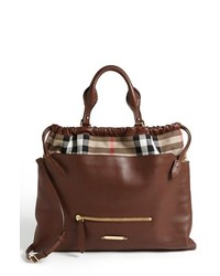 Big crush house check leather tote medium 190304