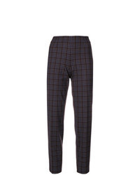 Dark Brown Check Tapered Pants