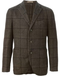Dark Brown Check Wool Blazer