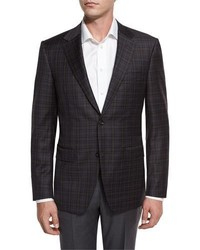 Canali Check Super 130s Wool Two Button Sport Coat Brownblue