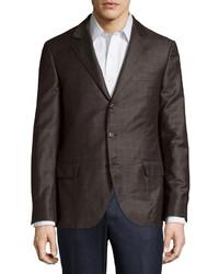 Brunello Cucinelli Checked Wool Jacket Brown