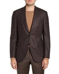 Peter Millar Flynn Classic Fit Windowpane Silk Wool Sport Coat