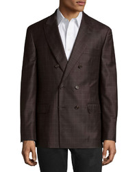 Brunello Cucinelli Checked Double Breasted Wool Jacket Brown