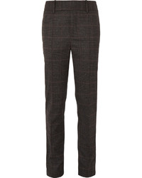 Dark Brown Check Wool Dress Pants