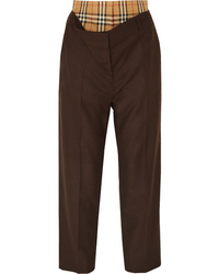 Burberry Layered Wool And Checked Cotton Straight Leg Pants