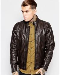Diesel Leather Jacket L Reed Chevron Biker