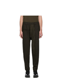 Ziggy Chen Green And Black Wool Houndstooth Trousers