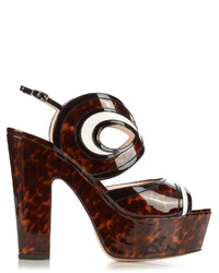 Nicholas Kirkwood Graffiti Cut Out Leather Platform Sandals