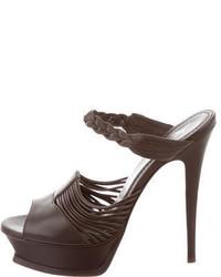 Saint Laurent Yves Leather Platform Sandals