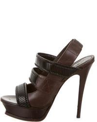 Saint Laurent Yves Platform Leather Sandals