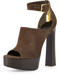 7e52bfe5c51 Dark Brown Chunky Suede Heeled Sandals for Women