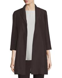 Eileen Fisher High Collar Silk Ravine Coat