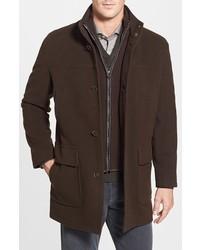 Cole Haan Wool Blend Top Coat With Inset Bib