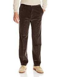 Haggar 21 Wale Stretch Corduroy Expandable Waist Classic Fit Plain Front Pant