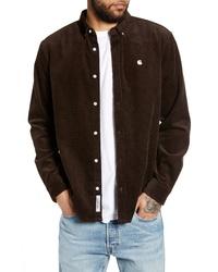 Dark Brown Corduroy Long Sleeve Shirt