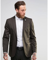 Dark Brown Cotton Blazer