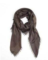 Brown gg print silk scarf medium 82537