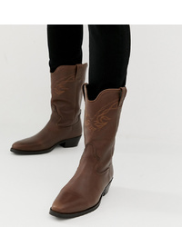 ASOS DESIGN Western Boots In Brown Leather