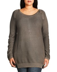 Plus size zip detail crewneck sweater medium 801567