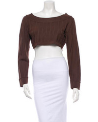 Women's Dark Brown Cropped Sweater, Black Lace Pencil Skirt, Black ...