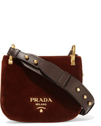 Prada Pionnire Velvet Shoulder Bag Chocolate