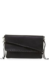 Linea Pelle Whipstitch Trim Faux Leather Crossbody Bag Black