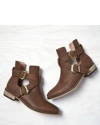 Dark Brown Cutout Leather Ankle Boots for Women | Women's Fashion