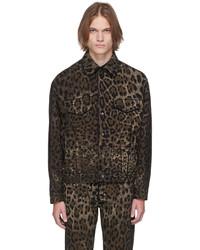Dolce & Gabbana Black Brown Denim Leopard Jacket