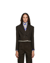 Andersson Bell Brown Cropped Double Breasted Blazer