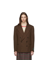 Gucci Brown Double Breasted Fluid Blazer