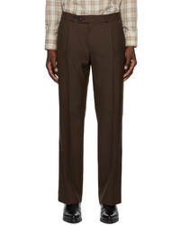 Ernest W. Baker Brown Pleated Straight Leg Trousers