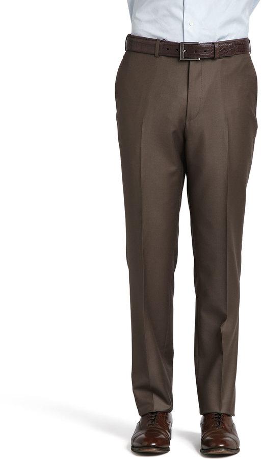 Ermenegildo Zegna Trofeo Wool Twill Dress Pants Light Brown ...