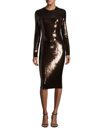 Tom Ford Sequined Long Sleeve Scoop Neck Dress