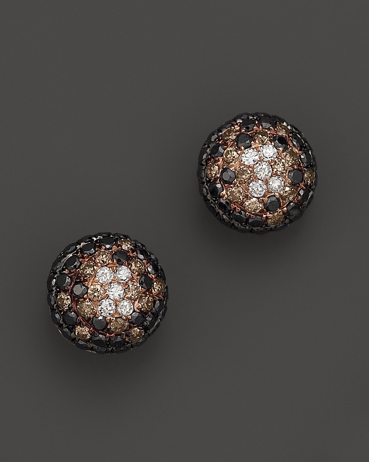 Black And Brown Diamond Earrings In 14k Rose Gold 70 Cttw
