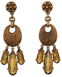 Stephen Dweck Carved Crystal Dangle Earrings