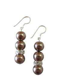 FashionJewelryForEveryone Prom Earrings Junior Bridesmaid Jewelry Brown Pearls