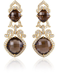 Farah Khan Fine Jewelry Smokey Topaz And Diamond Earrings