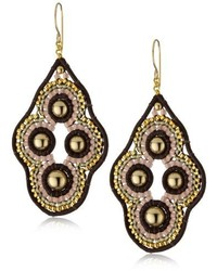 Miguel Ases Leather 14k Gold Filled Cluster Drop Earrings