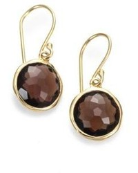Ippolita Lollipop Smoky Quartz 18k Yellow Gold Mini Drop Earrings