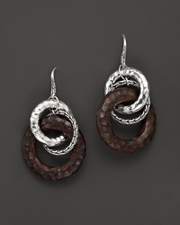 John Hardy Palu Silver Drop Earrings With Rose Wood