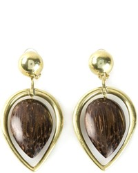 Vaubel Wood Drop Leaf Earrings