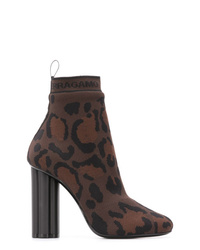 Dark Brown Elastic Ankle Boots