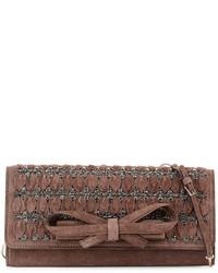 Embellished suede large clutch bag light brown medium 279596