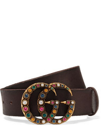 5d6ec091e33 ... Gucci Crystal Embellished Leather Belt Brown